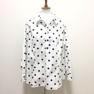 Lane Bryant white polka dot button down blouse 22